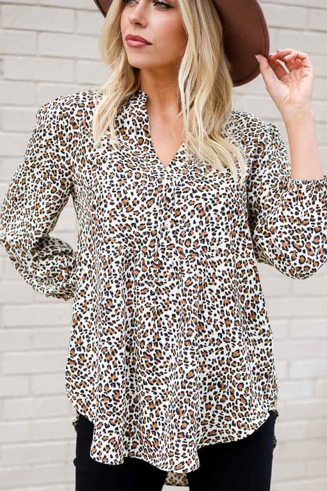 Leopard - Leopard Button Up Balloon Sleeve Blouse from Dress Up