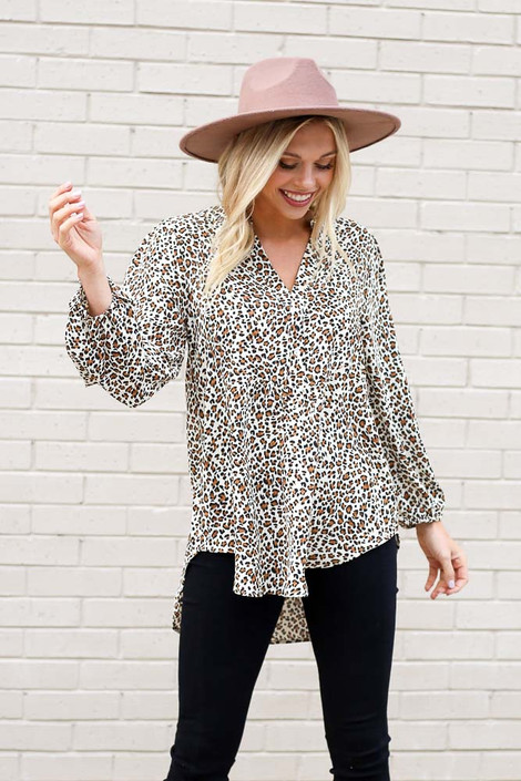 Leopard - Leopard Button Up Balloon Sleeve Blouse