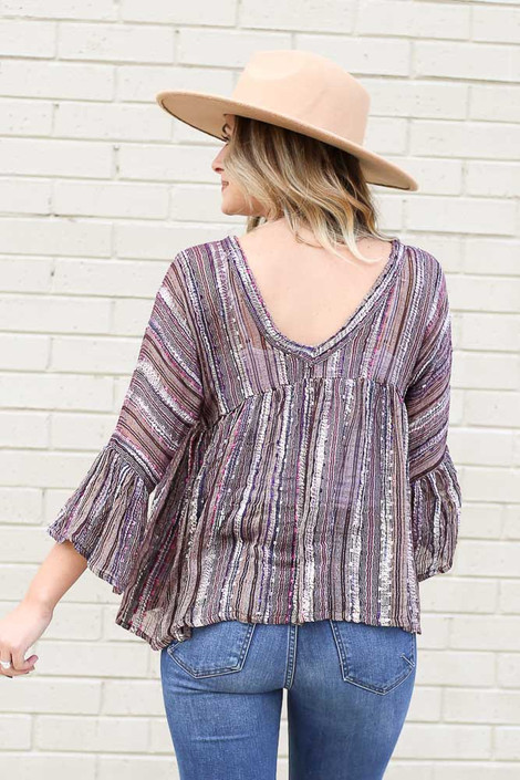 Gauze Bell Sleeve Babydoll Top Back View