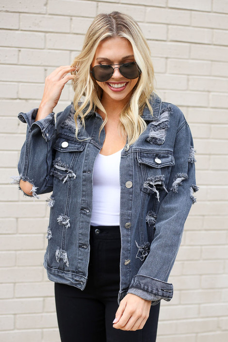 Model wearing the Charcoal Distressed Denim Jacket from Dress Up Front View