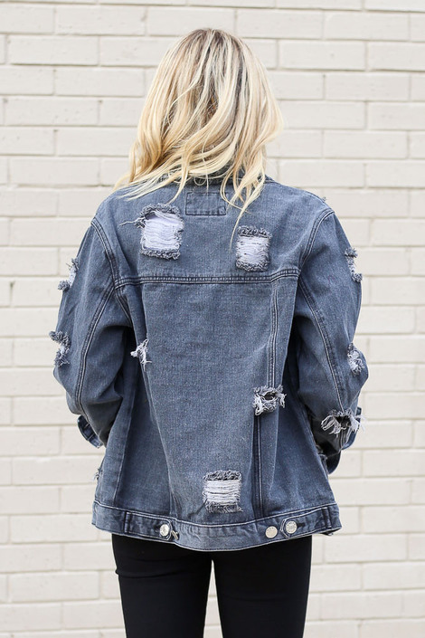 Model wearing the Charcoal Distressed Denim Jacket from Dress Up Back View