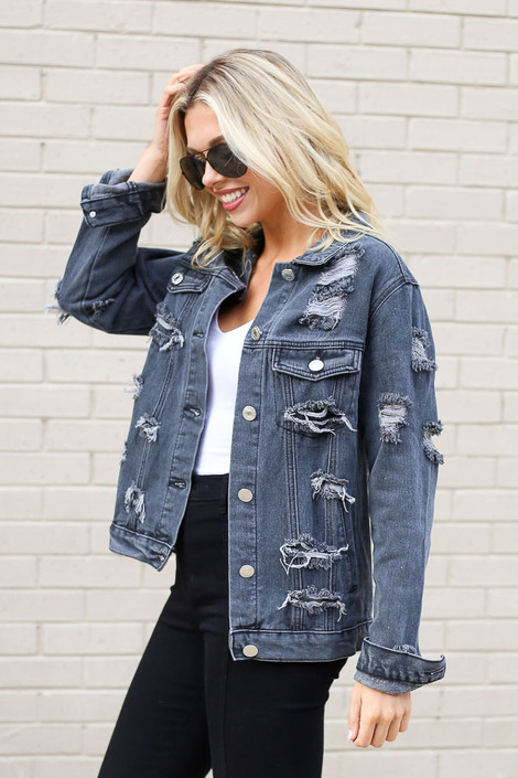 Model wearing the Charcoal Distressed Denim Jacket from Dress Up Side View
