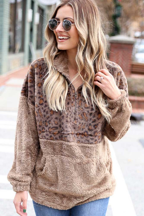 Mocha - Leopard Fuzzy Knit Quarter Zip Pullover from Dress Up