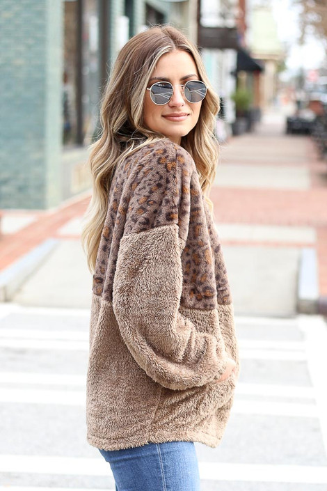 Leopard Fuzzy Knit Quarter Zip Pullover Side View