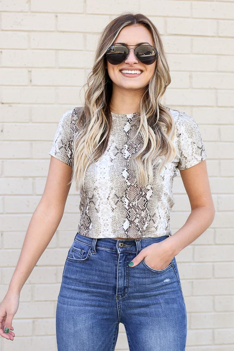 Model from Dress Up wearing Snakeskin Crop Top with jeans Front View