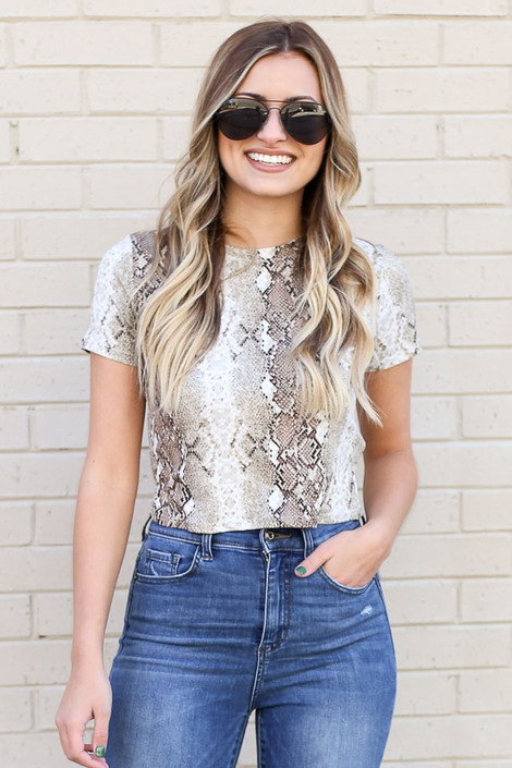Taupe - Snakeskin Crop Top