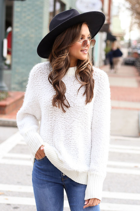 White - Oversized Popcorn Eyelash Knit Sweater from Dress Up