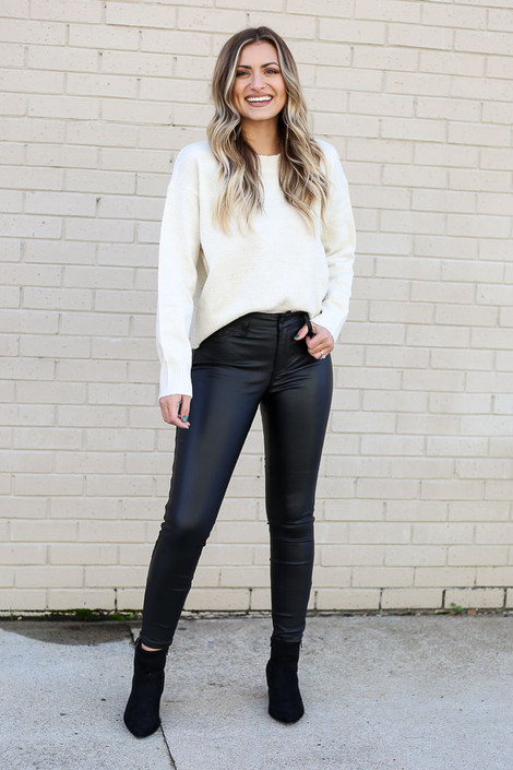 Black - Mid-Rise Faux Leather Skinny Jeans