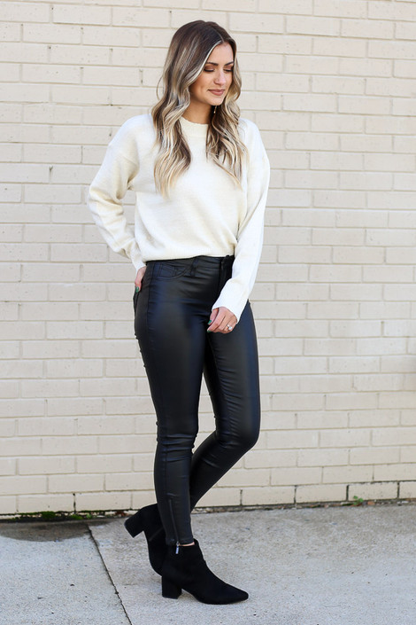Model wearing the Faux Leather Skinny Jeans Side View