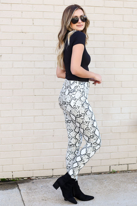 Snakeskin Coated Mid-Rise Skinny Jeans Side View