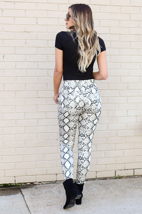 Snakeskin Coated Mid-Rise Skinny Jeans Back View