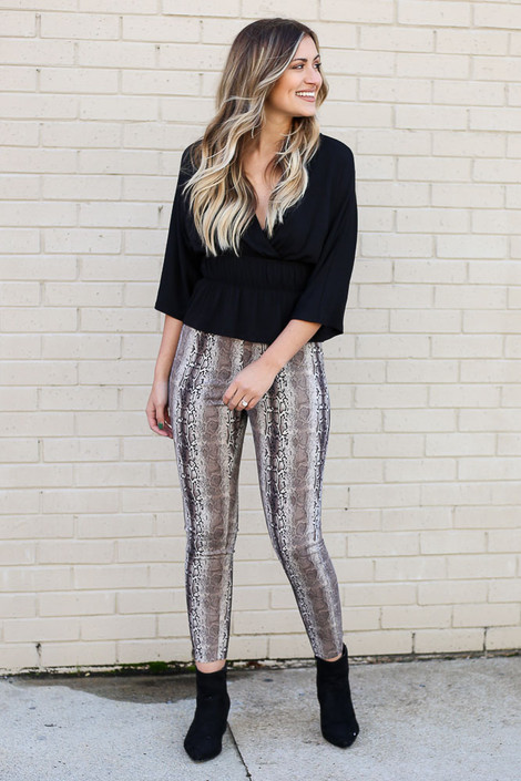 Model wearing the Snakeskin Microsuede Pants from Dress Up Front View