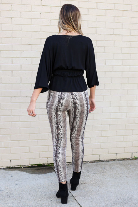 Model wearing the Snakeskin Microsuede Pants from Dress Up Back View