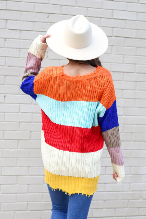 Model wearing the Multi Color Block Oversized Sweater from Dress Up Back View