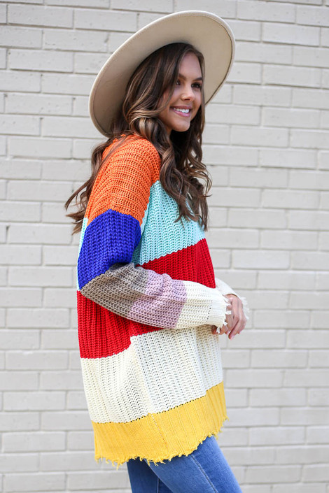 Model wearing the Multi Color Block Oversized Sweater from Dress Up Side View