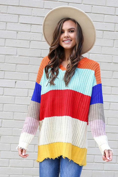 Model wearing the Multi Color Block Oversized Sweater from Dress Up Front View