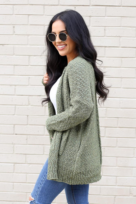 Model from Dress Up wearing the Popcorn Knit Cardigan in Olive Side View