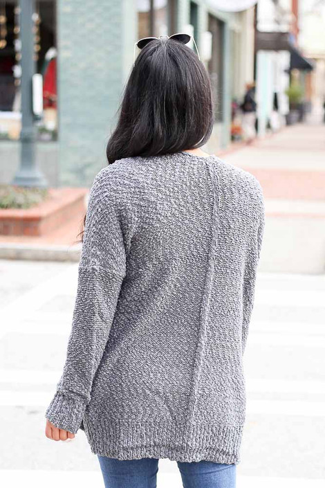 Model wearing the Popcorn Knit Cardigan in Charcoal Back View