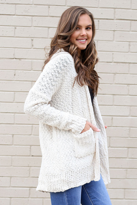 Model from Dress Up wearing the Popcorn Knit Cardigan in Ivory Side View
