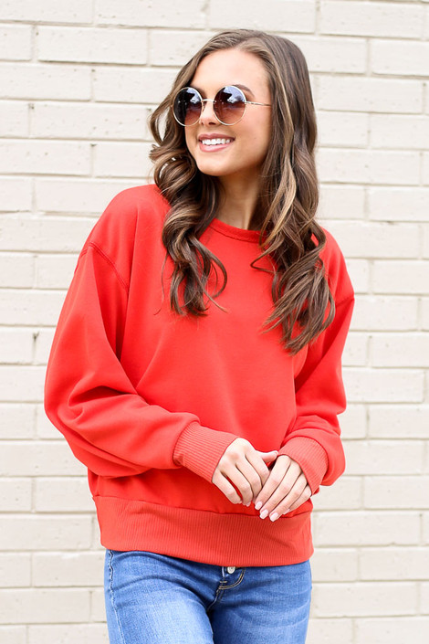 Red - French Terry Oversized Pullover from Dress Up
