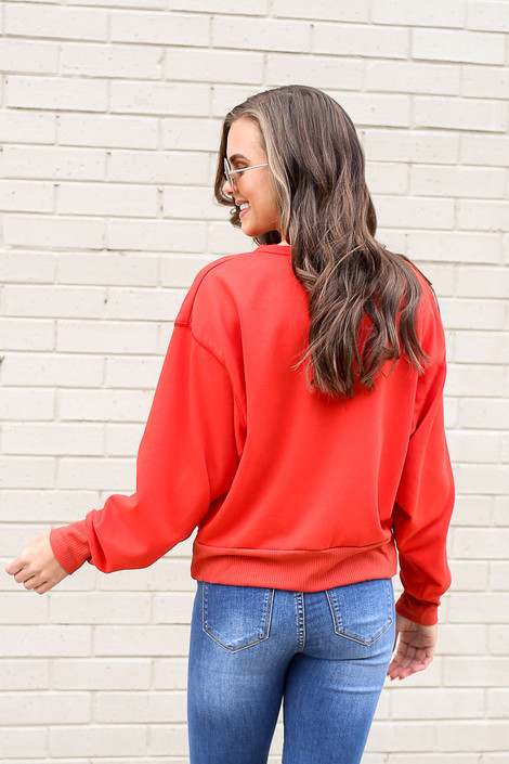 Model wearing the French Terry Oversized Pullover in Red Back View