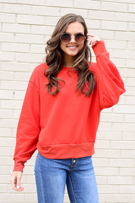 Red - French Terry Oversized Pullover