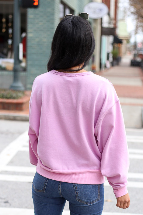 Model wearing the French Terry Oversized Pullover in Lilac Back View