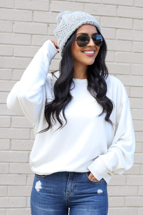 White - Fuzzy Knit Pullover