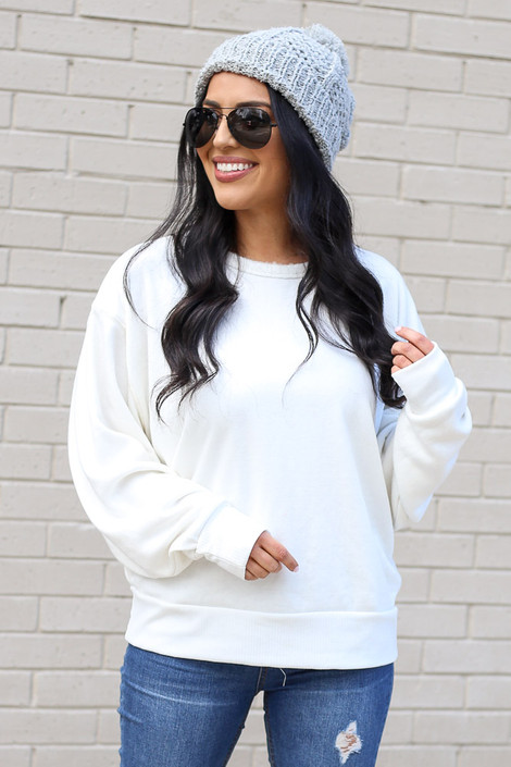White - Fuzzy Knit Pullover from Dress Up