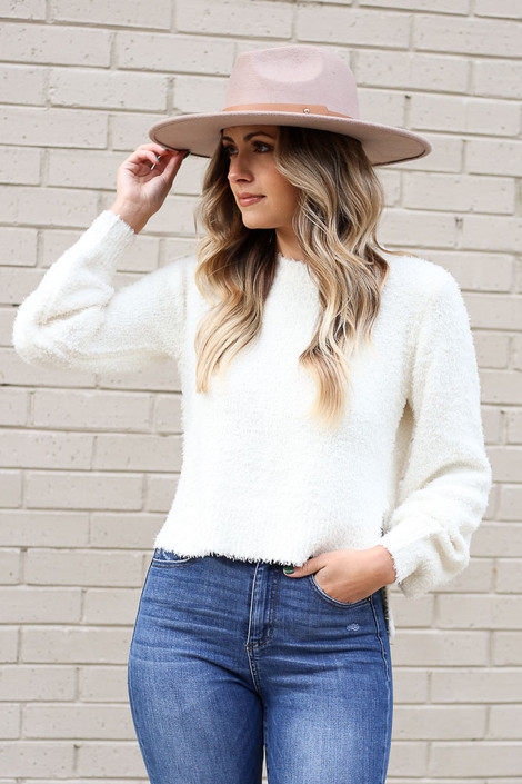 White - Balloon Sleeve Fuzzy Knit Sweater from Dress Up