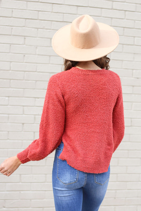 Balloon Sleeve Fuzzy Knit Sweater Back View