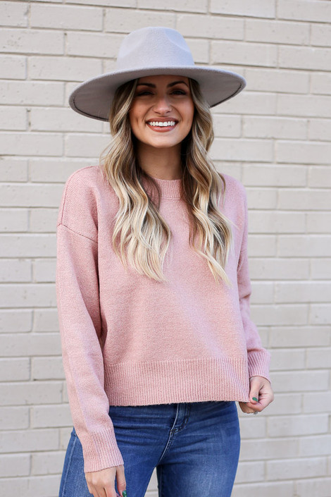 Pink - Metallic Knit Sweater