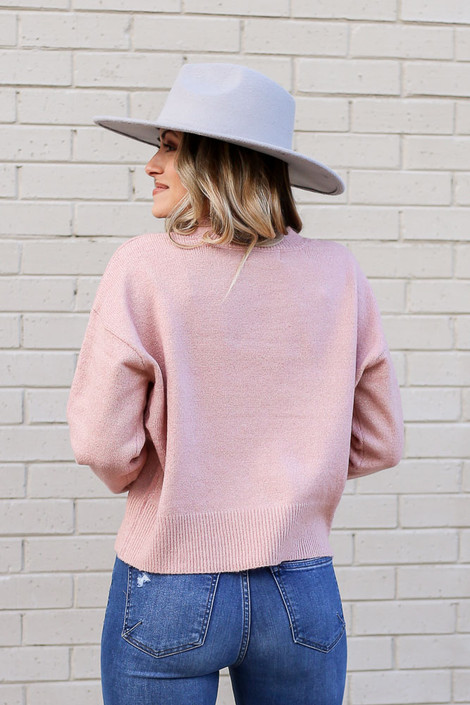 Metallic Knit Sweater from Dress Up in Pink Back View