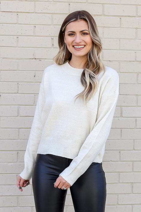 Ivory - Metallic Knit Sweater from Dress Up in Ivory