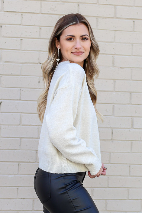 Ivory - Metallic Knit Sweater from Dress Up Side View