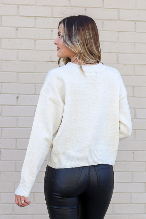 Metallic Knit Sweater from Dress Up in Ivory Back View