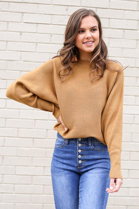 Mustard - Ribbed Drop Sleeve Sweater from Dress Up