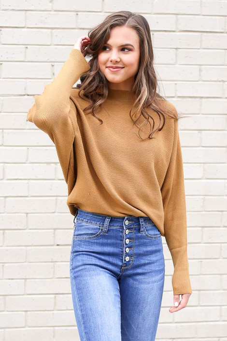 Mustard - Ribbed Drop Sleeve Sweater