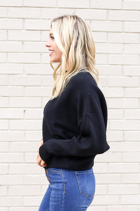Model from Dress Up wearing the Ribbed Drop Sleeve Sweater in Black Side View