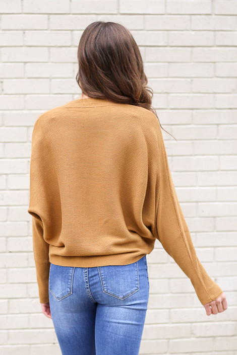 Model from Dress Up wearing the Ribbed Drop Sleeve Sweater in Mustard Back View