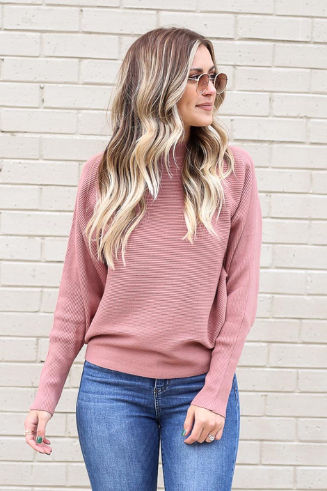 Mauve - Ribbed Drop Sleeve Sweater from Dress Up