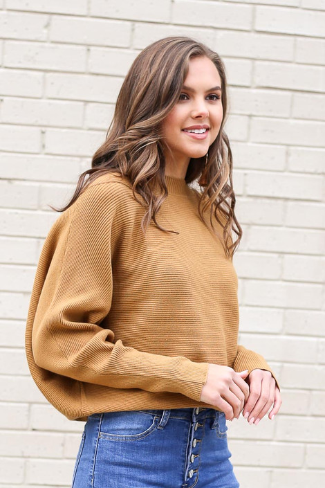 Model from Dress Up wearing the Ribbed Drop Sleeve Sweater in Mustard Side View