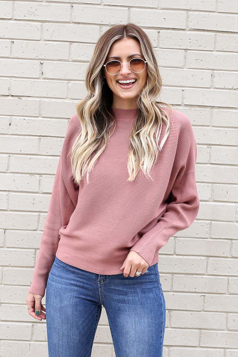 Mauve - Ribbed Drop Sleeve Sweater