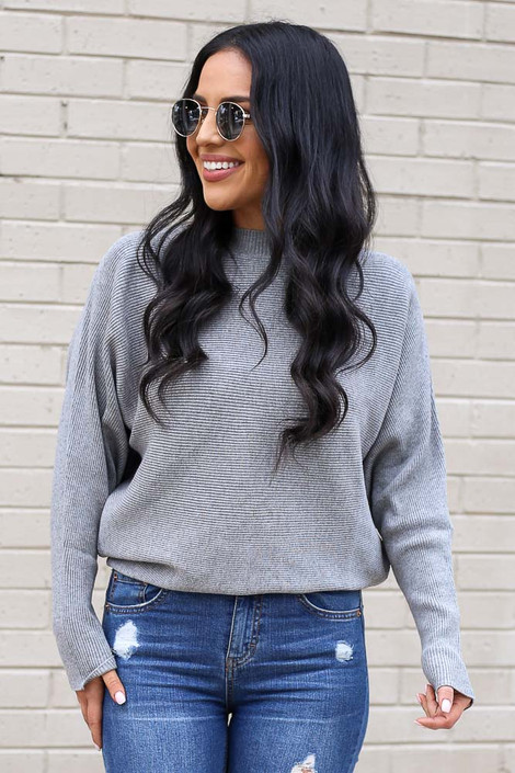 Grey - Ribbed Drop Sleeve Sweater