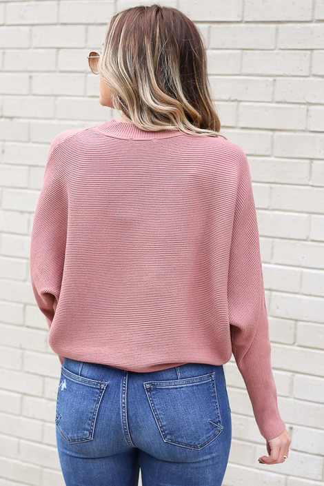 Model from Dress Up wearing the Ribbed Drop Sleeve Sweater in Mauve Back View