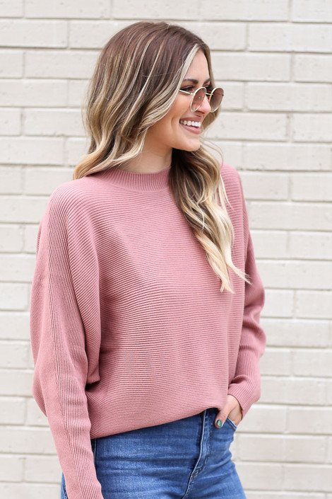 Model from Dress Up wearing the Ribbed Drop Sleeve Sweater in Mauve Side View