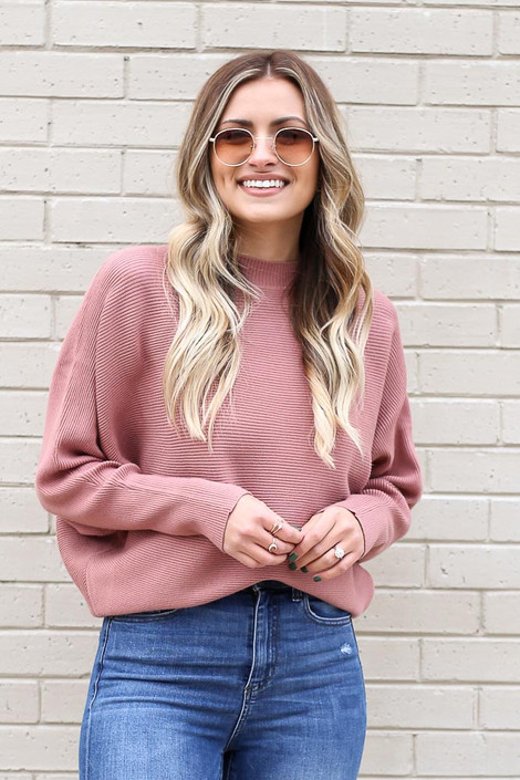 Model from Dress Up wearing the Ribbed Drop Sleeve Sweater in Mauve Front View