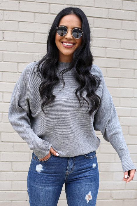 Model from Dress Up wearing the Ribbed Drop Sleeve Sweater in Grey Front View