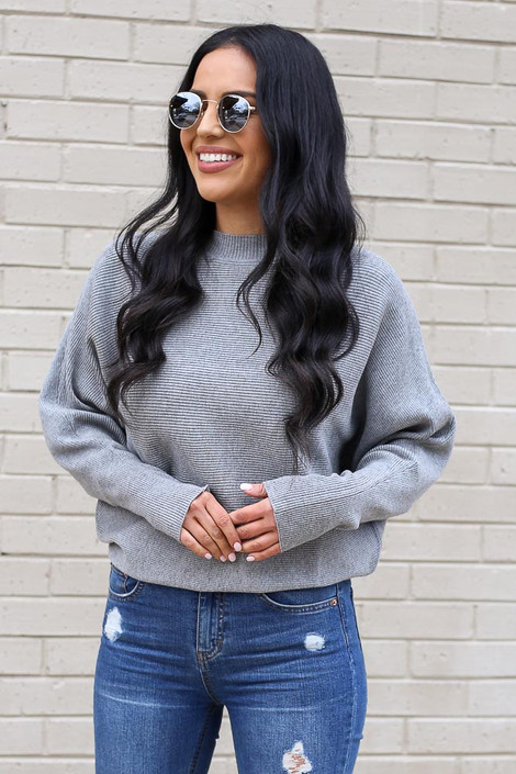 Grey - Ribbed Drop Sleeve Sweater from Dress Up