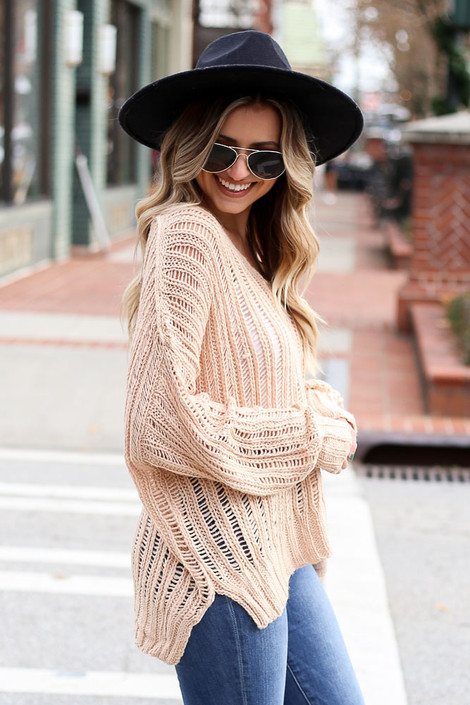 Blush - Loose Ribbed Knit Sweater from Dress Up